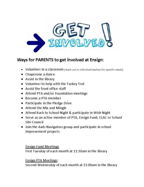 Ways for PARENTS to get involved at Ensign